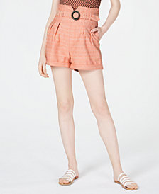 Line & Dot O-Ring Paperbag Shorts