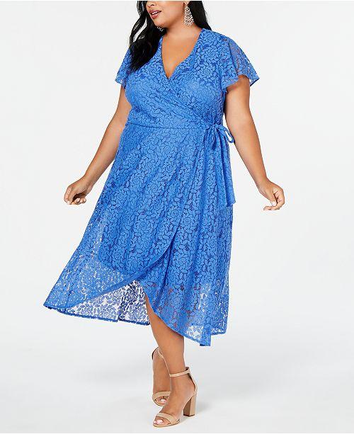 Plus Size Lace Wrap High-Low Maxi Dress
