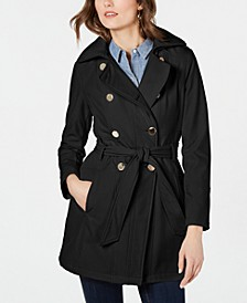 Double-Breasted Hooded Water-Resistant Trench Coat