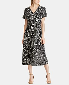 Lauren Ralph Lauren Floral-Print Belted Jersey Dress