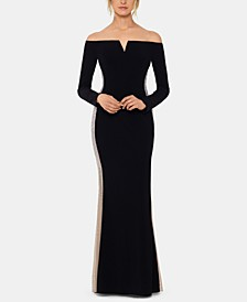 Beaded Off-The-Shoulder Gown