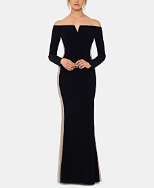 XSCAPE Beaded Off-The-Shoulder Gown