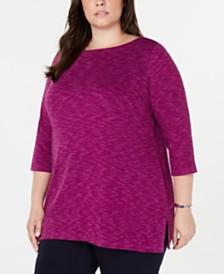 Karen Scott Plus Size Space-Dye 3/4-Sleeve Top, Created for Macy's