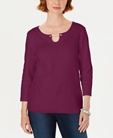 Karen Scott Three-Quarter-Sleeve Top, Created For Macy's