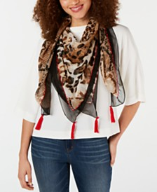 I.N.C. Mixed Animal Tassel Square Scarf, Created for Macy's
