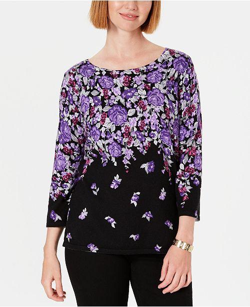 Karen Scott Petite Printed 3/4-Sleeve Sweater, Created For Macy's