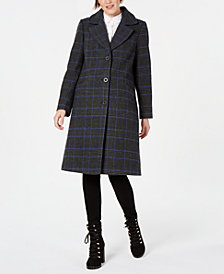Kenneth Cole Plaid Reefer Coat