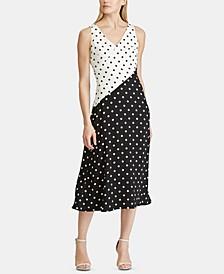 Polka-Dot-Print Sleeveless Crepe Dress