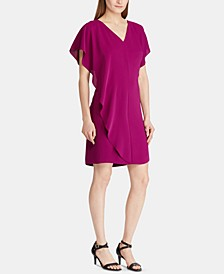 Ruffled-Overlay Short-Sleeve Crepe Shift Dress