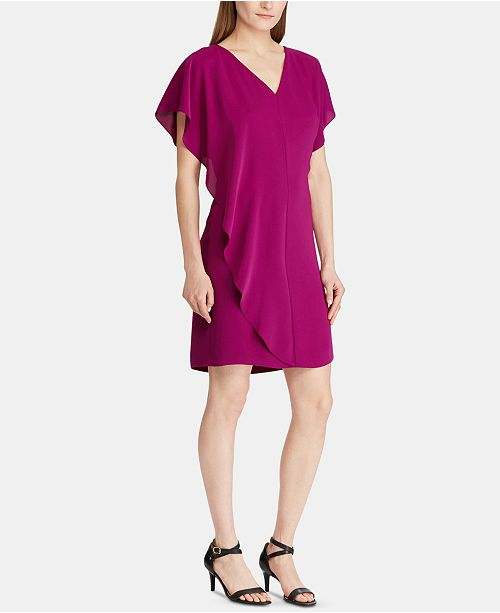 Lauren Ralph Lauren Ruffled-Overlay Short-Sleeve Crepe Shift Dress
