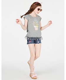 Epic Threads Big Girls Graphic-Print Fringe T-Shirt, Created for Macy's