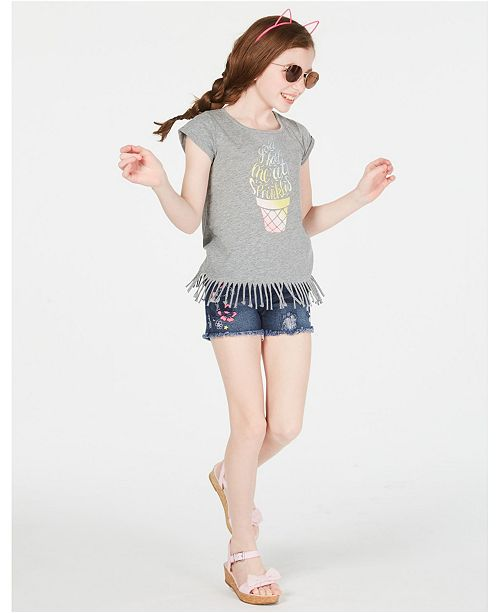 Epic Threads Big Girls Graphic-Print Fringe T-Shirt & Embroidered Unicorn Shorts, Created for Macy's