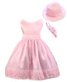 Pink Special Occasion Dress and Matching Pink Hat and Flower Headband