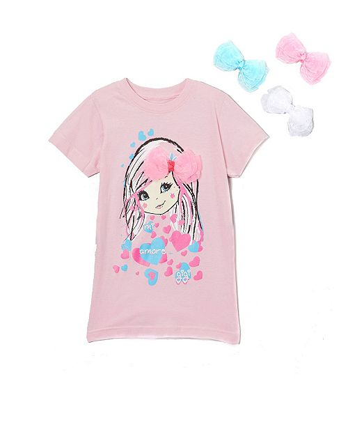 Mi Amore Gigi Little and Big Girls Interchangeable 3D Organza Bow Graphic Top