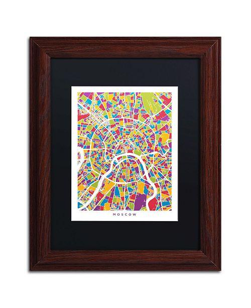 """Trademark Global Michael Tompsett 'Moscow City Street Map II' Matted Framed Art - 11"""" x 14"""""""