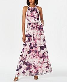 Embellished Floral-Print Gown