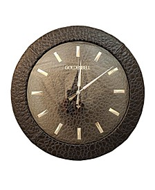 """Golden Bell Oversized Faux Leather Silent Non-Ticking 15.5"""" in Diameter Wall Clock"""