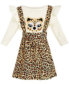 Blueberi Boulevard Baby Girls 2-Pc. Cheetah Top & Corduroy Printed Jumper Set