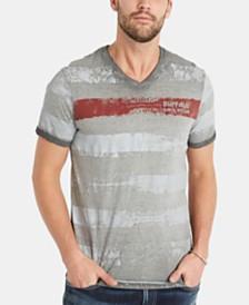 Buffalo David Bitton Men's Taplam Stripe Graphic V-Neck T-Shirt