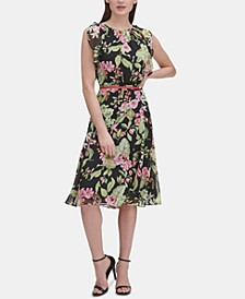 Ruffled Floral-Print Fit & Flare Dress