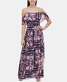 Printed Cold-Shoulder Maxi Dress