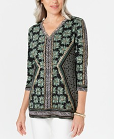 JM Collection Printed V-Neck Tunic Top, Created for Macy's