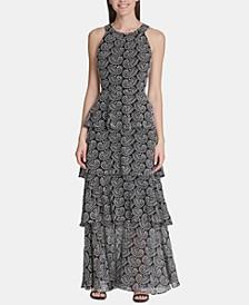 Tiered Paisley-Print Maxi Dress