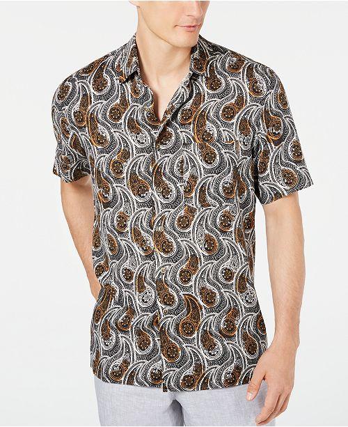 Tasso Elba Men's Ficotta Paisley Silk Shirt, Created for Macy's