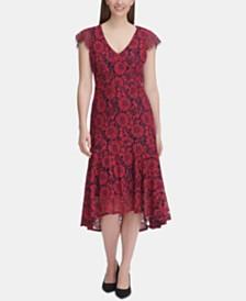 Tommy Hilfiger Floral Lace Midi Dress