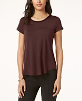 196bb5e0 Alfani Satin-Trim High-Low T-Shirt, Created for Macy's