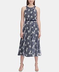 Belted Floral-Print Midi Dress