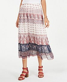 Tiered Mixed-Print Midi Skirt, Created for Macy's