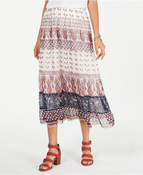 Style & Co Tiered Mixed-Print Midi Skirt, Created for Macy's