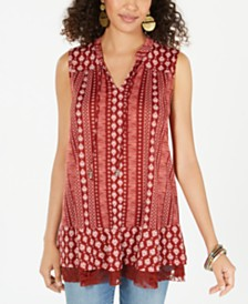 Style & Co Printed Lace-Trim Tunic, Created for Macy's