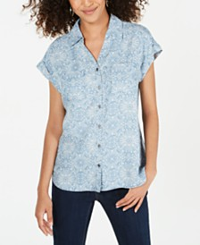 Style & Co Printed Button-Up Top, Created for Macy's