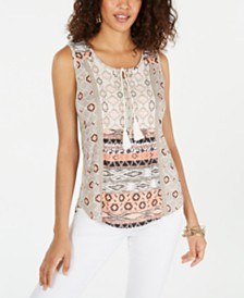 Style & Co Mixed-Print Sleeveless Top, Created for Macy's