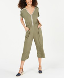Style & Co Embroidered V-Neck Jumpsuit, Created for Macy's