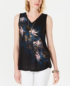 Style & Co Graphic Sleeveless Top, Created for Macy's