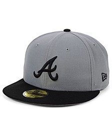 Atlanta Braves Basic Gray Black 59FIFTY Fitted Cap