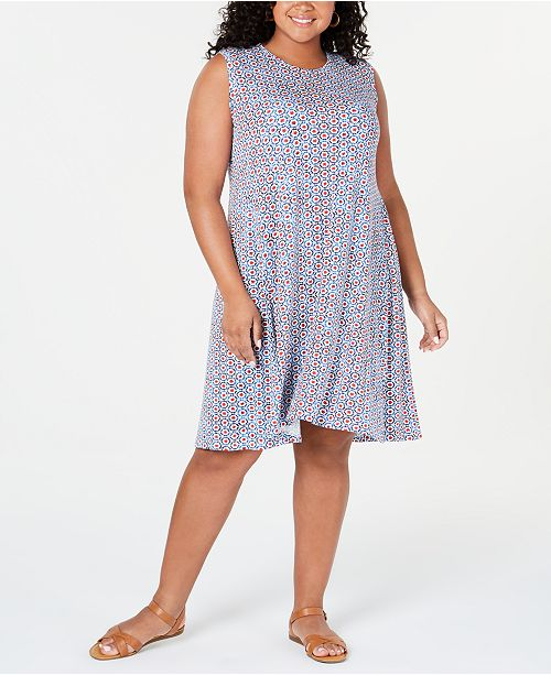 Plus Size Printed Swing Dress, Created for Macy\'s