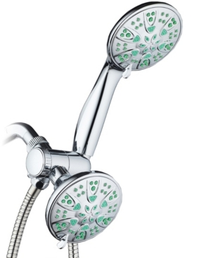 Antimicrobial 30-setting Shower Combo, Coral Green Jets Bedding