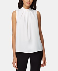 Tahari ASL Embellished Pleated Top