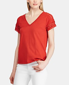 Lauren Ralph Lauren Lace-Trim Short-Sleeve Top