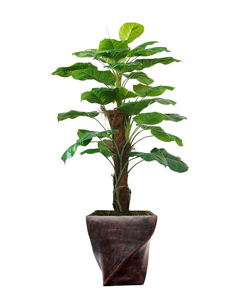 """Laura Ashley 57.5"""" Real Touch Greenery in Fiberstone Planter"""