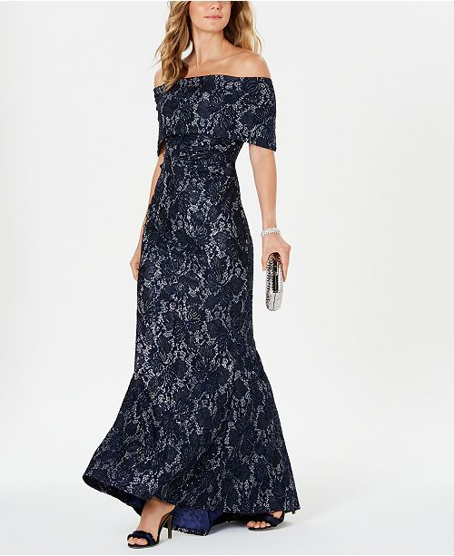 Vince Camuto Sequin & Lace Gown
