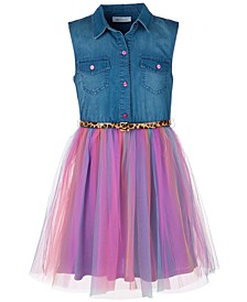 Big Girls Plus Size Denim Rainbow-Skirt Dress