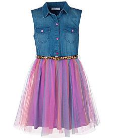 Bonnie Jean Big Girls Plus Size Denim Rainbow-Skirt Dress
