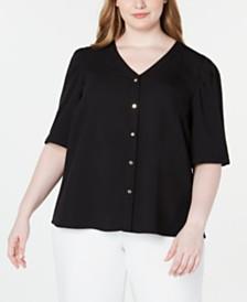 Calvin Klein Plus Size Short-Sleeve Button-Front Top