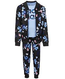 Adidas Little Girls Logo Tricot Jacket, Logo T-Shirt & Jogger Pants Separates