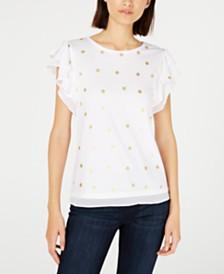 Maison Jules Flutter-Sleeve Polka-Dot Print Top